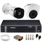 Kit 2 Câmeras de Segurança VHD 1010 Dome + VHD 1010 Bullet, HD 720p 1MP - Lente 3.6 mm + DVR MHDX-1104 + APP Grátis de Monitoramento