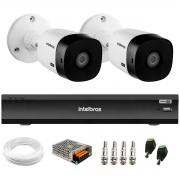Kit 2 Câmeras Bullet 2K Quad HD 4MP Intelbras VHD 1420 B HDCVI + DVR Gravador de Vídeo Inteligente iMHDX 3004 4 Canais + Acessórios