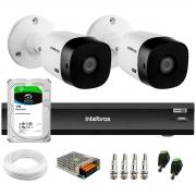 Kit 2 Câmeras Bullet 2K Quad HD 4MP Intelbras VHD 1420 B HDCVI + DVR Gravador de Vídeo Inteligente iMHDX 3004 4 Canais + HD 1TB