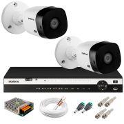 Kit 2 Câmeras 2K VHD 1420B + DVR Intelbras + App Grátis de Monitoramento, Câmeras 20m Infravermelho de Visão Noturna + Fonte, Cabos e Acessórios