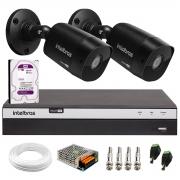 Kit 2 Câmeras Black Bullet Intelbras VHD 1220 B G6 Full HD 1080p + DVR MHDX 3104 04 Canais + HD 1 TB + Conectores e Acessórios
