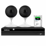 Kit 2 Câmeras com Inteligência Artificial Full HD iM3 Intelbras Branca + Gravador Digital de Vídeo Intelbras NVR NVD 1404 - 4 Canais + HD 1TB