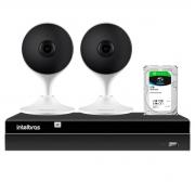Kit 2 Câmeras com Inteligência Artificial Full HD iM3 Intelbras Branca + Gravador Digital de Vídeo Intelbras NVR NVD 1404 - 4 Canais + HD 2TB