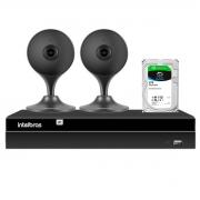 Kit 2 Câmeras com Inteligência Artificial Full HD iM3 Intelbras Preta + Gravador Digital de Vídeo Intelbras NVR NVD 1404 - 4 Canais +  HD 2TB