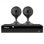 Kit 2 Câmeras com Inteligência Artificial Full HD iM3 Intelbras Preta + Gravador Digital de Vídeo Intelbras NVR NVD 1404 - 4 Canais