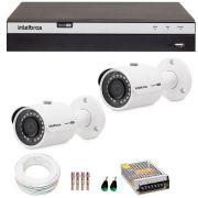 Kit 2 câmeras de segurança 4mp 2k intelbras vhd 3430 b + dvr intelbras 4k + acessórios