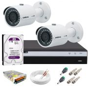 Kit 2 Câmeras de Segurança 4MP 2k Intelbras VHD 3430 B + DVR Intelbras 4K + HD WD Purple + Acessórios