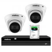 Kit 2 Câmeras de Segurança Dome Intelbras Full HD 1080p VIP 1230 D G2 +  Gravador Digital de Vídeo NVR NVD 1404 - 4 Canais Intelbras + HD 1TB