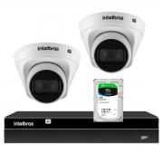 Kit 2 Câmeras de Segurança Dome Intelbras Full HD 1080p VIP 1230 D G2 + Gravador Digital de Vídeo NVR NVD 1404 - 4 Canais Intelbras + HD 2TB