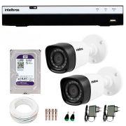 Kit 2 Câmeras de Segurança Full HD 1080p Intelbras VHD 1220B IR + DVR Intelbras Full HD 4 Ch + HD WD Purple 1TB + Acessórios