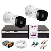 Kit 2 Câmeras de Segurança Full HD 1080p Intelbras VHD 1220B IR + DVR Intelbras Full HD 4 Ch + HD WD Purple 3TB + Acessórios