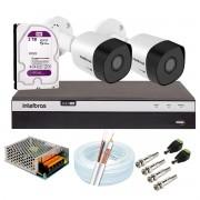 Kit 2 Câmeras de Segurança Full HD 1080p VHD 3230 B G6 + DVR Intelbras MHDX 3104 Full HD de 04 Canais + 1 HD Interno WD Purple 2TB Surveillance SATA III + Acessórios