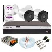 Kit 2 Câmeras de Segurança Full HD 1080p VHD 3230 B G6 + DVR Intelbras Full HD 4 Ch +  HD WD Purple 3TB + Acessórios