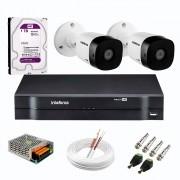 Kit 2 Câmeras de Segurança Full HD 1080p VHD 1220 B G6 + DVR Intelbras MHDX 1104 de 4 Canais 1080p Lite + Acessórios