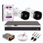 Kit 2 Câmeras de Segurança Full HD 1080p VHD 1220 B G6 + DVR Intelbras MHDX 3104 Full HD de 04 Canais + HD WD Purple 2TB + Acessórios