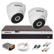 Kit 2 Câmeras VHD 3220 D G5 + DVR Intelbras + App Grátis de Monitoramento, Câmeras Full HD 1080p 20m Infravermelho de Visão Noturna Intelbras + Fonte, Cabos e Acessórios