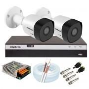 Kit 2 Câmeras de Segurança Full HD 1080p VHD 3230 B G6 + DVR Intelbras MHDX 3104 Full HD de 4 Canais + Acessórios