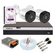 Kit 2 Câmeras de Segurança Full HD 1080p VHD 3230 B G5 + DVR Intelbras MHDX 3104 Full HD de 04 Canais + 1 HD Interno WD Purple 1TB Surveillance SATA III + Acessórios