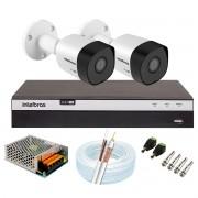 Kit 2 Câmeras de Segurança Full HD 1080p VHD 3230 B G6 + DVR Intelbras MHDX 3108 Full HD de 08 Canais + Acessórios
