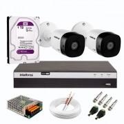 Kit 2 Câmeras de Segurança Full HD Intelbras VHD 1220 B G6 + DVR Intelbras 08 Canais Full HD MHDX 3108 + HD WD Purple 1TB + Acessórios