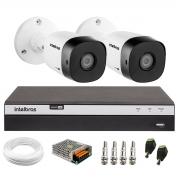 Kit 2 Câmeras de Segurança Full HD Intelbras VHD 1220 B G6 + DVR Intelbras Full HD MHDX 3108 + Acessórios
