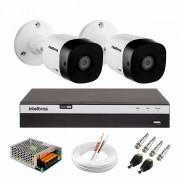 Kit 2 Câmeras de Segurança Full HD Intelbras VHD 1220 B G6 + DVR Intelbras Full HD MHDX 3108 de 8 Canais + Acessórios