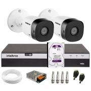 Kit 2 Câmeras de Segurança Full HD Intelbras VHD 1220 B G6 + DVR Intelbras Full HD MHDX 3108 + HD 1TB + Acessórios