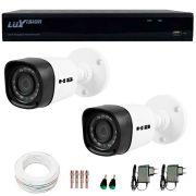 Kit 2 câmeras de segurança hb tech hd 720p + dvr luxvision all hd 5 em 1 ecd + acessórios