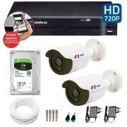 Kit 2 Câmeras de Segurança HD 720p Focusbras + DVR Intelbras Multi HD + HD para Gravação 1TB + Acessórios