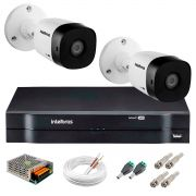 Kit 2 Câmeras VHD 3130 B G5 + DVR Intelbras + App Grátis de Monitoramento, Câmeras HD 720p 30m Infravermelho de Visão Noturna Intelbras + Fonte, Cabos e Acessórios