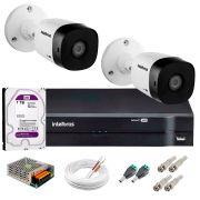 Kit 2 Câmeras VHD 3130 B G5 + DVR Intelbras + HD 1TB para Armazenamento +  App Grátis de Monitoramento, Câmeras HD 720p 30m Infravermelho de Visão Noturna Intelbras + Fonte, Cabos e Acessórios
