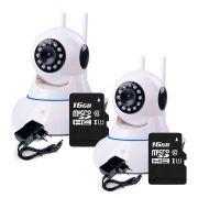 Kit 2 Câmeras de Segurança IP Sem Fio Wifi HD 720p Robo Wireless + Cartão SD de Armazenamento 16GB