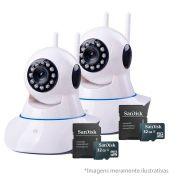Kit 2 Câmeras de Segurança IP Sem Fio Wifi HD 720p Robo Wireless + Cartão SD de Armazenamento 32GB