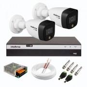 Kit 2 Câmeras de Segurança VHD 1220 B Full Color de Alta Definição Full HD 1080p + DVR Intelbras Full HD MHDX 3108 de 08 Canais + Conectores e Acessórios