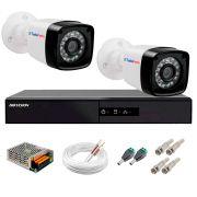Kit 2 Câmeras + DVR Hikvision + App de Monitoramento, Câmeras Full HD 1080 Lite 25m Infravermelho de Visão Noturna Tudo Forte Completo com Acessórios