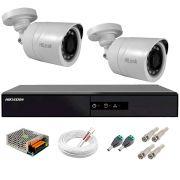 Kit 2 Câmeras + DVR Hikvision + Fonte, Cabos e Acessórios - Câmeras Hilook THC B120C-P Full HD 1080 Lite 20m Infra e Visão Noturna
