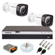 Kit 02 Câmeras Full HD 1080p 20m Infravermelho de Visão Noturna + DVR Intelbras + App Grátis de Monitoramento + Fonte, Cabos e Acessórios