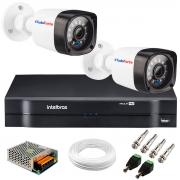 Kit 2 Câmeras + DVR Intelbras + App Grátis de Monitoramento, Câmeras HD 720p 20m Infravermelho de Visão Noturna + Fonte, Cabos e Acessórios