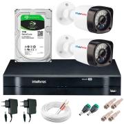 Kit 02 Câmeras HD 720p 20m Infravermelho de Visão Noturna + DVR Intelbras + HD 1 TB + App Grátis de Monitoramento + Fonte, Cabos e Acessórios