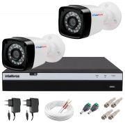 Kit 2 Câmeras + DVR Intelbras + App Grátis de Monitoramento, Câmeras Full HD 1080p 20m Infravermelho de Visão Noturna + Fonte, Cabos e Acessórios