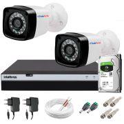 Kit 2 Câmeras + DVR Intelbras + HD 1 TB + App de Monitoramento, Câmeras Full HD 1080p 20m Infravermelho de Visão Noturna + Fonte, Cabos e Acessórios