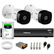 Kit 2 Câmeras Intelbras Bullet VHD 1420 B G6 4MP 2K Quad HD + Gravador de Vídeo Digital Com Inteligência Artificial iMHDX 3008 8 Canais + HD 1TB