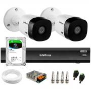 Kit 2 Câmeras Intelbras Bullet VHD 1420 B G6 4MP 2K Quad HD + Gravador de Vídeo Digital Com Inteligência Artificial iMHDX 3008 8 Canais + HD 2TB