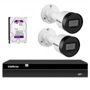 Kit 2 Câmeras Intelbras HD 720p VIP 1130 B 3,6mm Bullet IP67 + Gravador Digital de Vídeo NVR NVD 1404 Intelbras - 4 Canais + HD 1TB