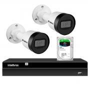 Kit 2 Câmeras Intelbras HD 720p VIP 1130 B 3,6mm Bullet IP67 + Gravador Digital de Vídeo NVR NVD 1404 - 4 Canais + HD 2TB