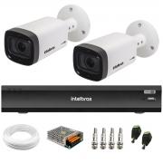 Kit 2 Câmeras Varifocal Bullet Intelbras Multi HD VHD 3240 VF G6 IP67 IR 40m + DVR Gravador Inteligente iMHDX 3004 4 Canais + Acessórios