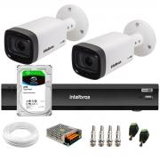 Kit 2 Câmeras Varifocal Bullet Intelbras Multi HD VHD 3240 VF G6 IP67 IR 40m + DVR Gravador Inteligente iMHDX 3004 4 Canais + HD 2TB