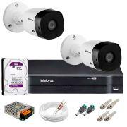 Kit 2 Câmeras Intelbras VHL 1220 B Full HD 1080 Lite + DVR Intelbras + Acessórios Completo - Câmeras com 20m Infravermelho de Visão Noturna