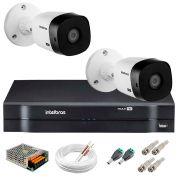 Kit 2 Câmeras Intelbras VHL 1220 B Full HD 1080 Lite + DVR Intelbras - Câmeras com 20m Infravermelho de Visão Noturna + Fonte, Cabos e Acessórios