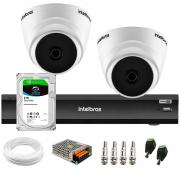 Kit 2 Câmeras Intelbras VHL 1220 D 20m, Full HD 1080p Lente 2,8 mm + Gravador de Vídeo Digital iMHDX 3004 com Reconhecimento Facial 4 Canais + Hd 2TB